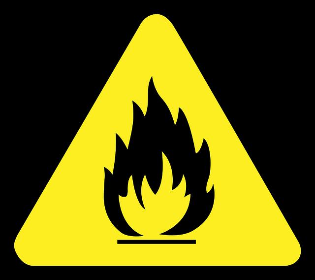 señal precaución incendio